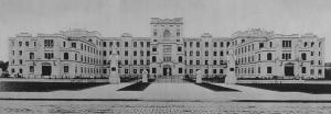 Fachada do prédio da Faculdade de Medicina de São Paulo, no planalto do Araçá. Reprodução: Suplemento Rotogruva