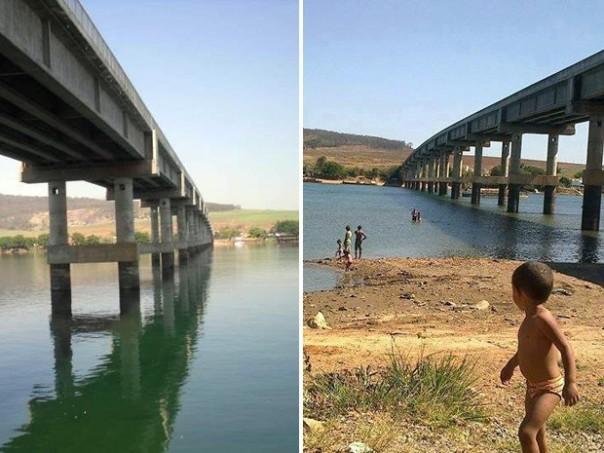 Imagens mostram ponte em São João Batista do Glória antes, em 2011 e agora, em 2014 (Foto: Reprodução Amigos do Rio Grande)
