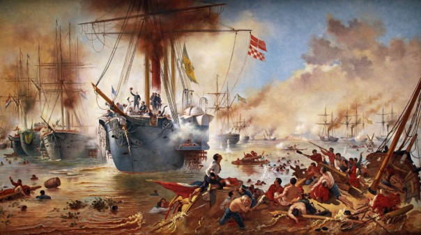 Batalha Naval do Riachuelo: momento decisivo, quando Barroso põe a pique o Jejui (aquarela do Almirante Trajano Augusto de Carvalho).